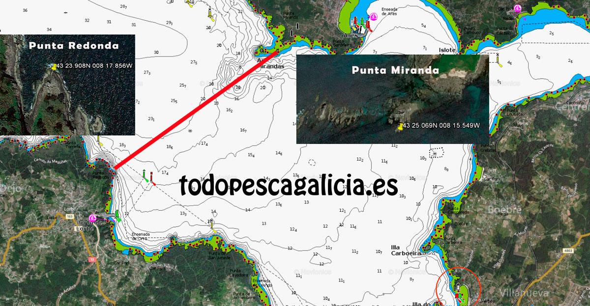 Límite zona de pesca Submarina Ares Sada