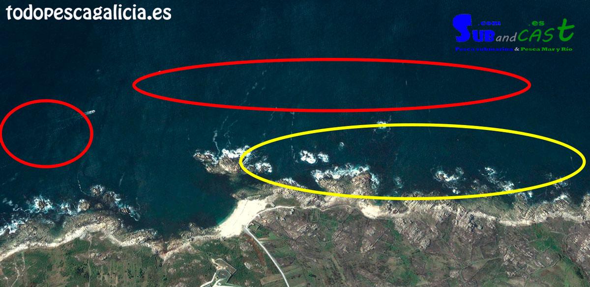 En amarillo las zonas de espuma para sargo y Lubina. En rojo caídas, grietas... según nos vamos alejando.